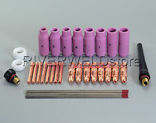 TIG Collet Body Back Cup & 2% Thoriated TIG Welding Torch WP-17 WP18 WP-26 36PK