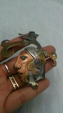 vtg. Victoria Taxco sterling 925 mixed metal tribal face  pin  brooch pendant