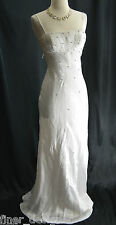 NEW Cache Embellished White Liquid Dress Beaded Formal Wedding Bridal Gown SZ XS