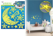3D Glow in the Dark CELESTIAL wall stickers 20 decals decor MOON shooting stars