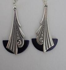ART DECO VINTAGE BLUE BAKELITE AND SILVER PLATED 'FAN' EARRINGS