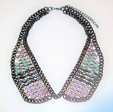 Rhinestone Shirt Collar Necklace Chain Maille Pink Blue Navette Faux Opal Chunky
