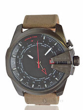 BRAND NEW MENS DIESEL (DZ4306) MEGA CHIEF BEIGE LEATHER CANVAS WATCH