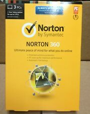 Norton 360 2014 by Symantec 1 Year Subscription for 3 PC's Factory Sealed New