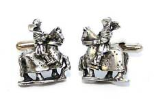 Medieval Jousting Knight Cufflinks, English Pewter, Handmade, Gift Boxed (wa-A)