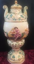 Vintage Urn LIdded Vase Marked Italy Capodimonte