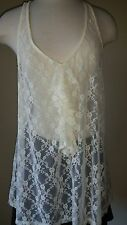 Xhilration~Adorable & Sexy Designer Cream Lace Top With Front Ruffles~Size- XXL