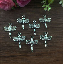 Wholesale 10pcs Tibetan silver Dragonfly Charm Pendant beaded Jewelry Finding