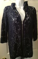 Anthropologie STARING AT STARS Navy Blue Lace Cardigan Hoodie Top Blouse Sz M