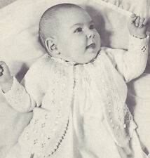 Vintage Knitting PATTERN to make Frilly Baby Raglan Sweater Jacket Coat Infant