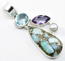 COPPER LARIMAR, BLUE TOPAZ, AMETHYST PENDANT SOLID 925 SILVER JEWELRY IP18423