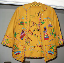 BEAUTIFUL VINTAGE HAND MADE SEWN SOUTHWESTERN LATIN AMERICAN FELT WOOL ? JACKET