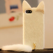 3D Cute Lovely Velvet Cat with Tail Case Cover Gift For iPhone 4/4s New White