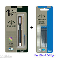 Parker Vector Standard CT Fountain Pen - Black Body + 4 Free Blue Ink USA seller