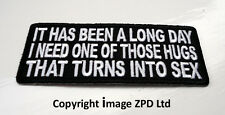 P2 Long Day Hug That Turns To Sex.... Funny Humour Iron on Patch Laugh Joke