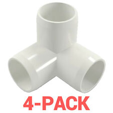 "1"" inch 3-Way Corner Elbow PVC Fitting Connector - 4-Pack - PB1003W-4P"