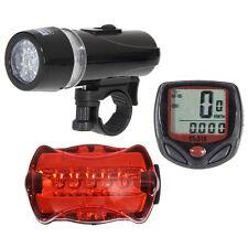 5 LED Luz de Bicicleta MTB BMX Ciclismo lámpara Head & trasera & Velocímetro
