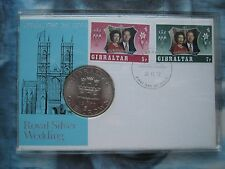 Gibraltar 1970 Crown Coin Queen Elizabeth II Silver Wedding First Day Cover case