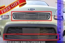 GTG, FITS: 2012 - 2013 KIA SOUL 2pc CHROME UPPER & BUMPER OVERLAY BILLET GRILLE