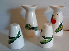 Ceramic Porcelain Oil, Vinegar, Salt & Pepper Vegetable Deco Exc Cond
