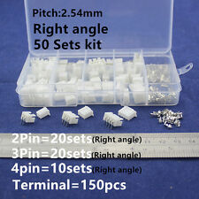 50 Kit 2p3p4 pin 2.54mm Terminal Housing Pin Header PCB Connector Wire Crimp XH