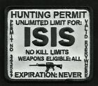 ISIS HUNTING PERMIT BIKER TACTICAL COMBAT BADGE MORALE MILITARY PATCH WHITE