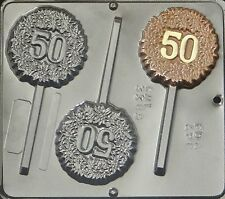 """50"" 50th Anniversary Lollipop Chocolate Candy Mold  3385 NEW"