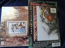 2 Counted Cross Stitch Kits: Tiger, Cat