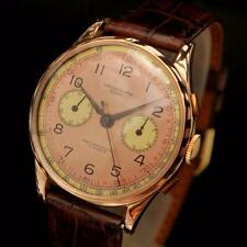 SWISS AUTHENTIC CHRONOGRAPH 18K SOLID ROSE GOLD MANUAL WIND VINTAGE GENTS WATCH