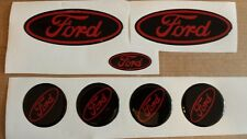 Ford Fiesta mk7.5 gel overlay badges, black & red 7 set domed gel badges..