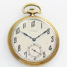Antique 18K Gold International Watch Co. 10 Size 21J Open Face Pocket Watch
