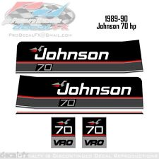 1989-90 Johnson 70 HP VRO Outboard Reproduction 5 Piece Vinyl Decals Seventy