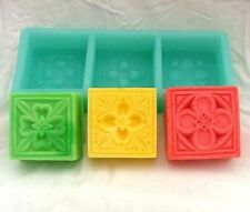 Square Floral Soap Mold Flexible Silicone Mould For Resin Craft R0177