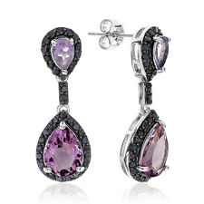 4.50 Carat Genuine Amethyst & Enhanced Black Diamond Earrings in Sterling S
