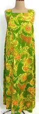 VINTAGE 60s 70s GREEN orange yellow swirly abstract FLORAL print MAXI DRESS 8 10