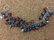 New England Patriots Red & Blue Inspired Charm Bracelet Handmade