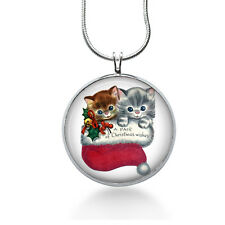 Christmas Kittens Necklace, Holiday Pendant, cat, gifts for women,jewelry