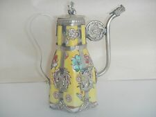 CHINESE TIBET SILVER PORCELAIN MONKEY lid TEA POT
