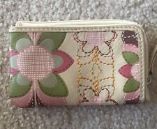EUC FOSSIL RUBY Flower Tan Pink Green Mini Leather Zip Coin Credit Card Wallet