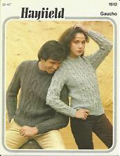 VINTAGE KNITTING PATTERN  ARAN JUMPER (B) FOR WOMEN & MEN