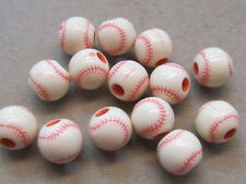 25 Pink White Baseball 11mm Acrylic Beads(K56E33)