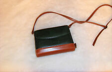 Franklin Quest Green & Brown Grain Leather Day Planner & Cross Body Bag Purse