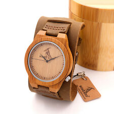 BOBO BIRD Bamboo Wood WatchesGenuine Leather Bracelets