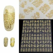 108 Gold 3D Flower Nail Art Stickers Decals Decorations Transfers Design Nails