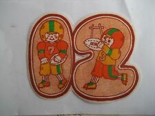 Vintage FOOTBALL Player 12 Applique Patch Iron On Lot of 2 Large 5-1/2 x 4-1/2