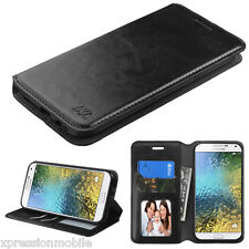 For Samsung GALAXY E5 S978L Leather Flip Wallet Case Cover Stand BLACK