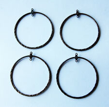 VINTAGE 4 HAMMERED STEEL METAL BRASS PATINA CIRCLE EARRING PENDANT BAILS 2 inch