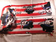 Pirates on Red and White Stripes Fleece Scarf