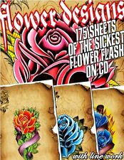 """TATTOO FLASH """"FLOWER FLASH"""" ON CD/DVD 175 SHEETS WITH LINE WORK!"""