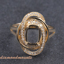 Cushion Cut 6x8mm Solid 14k Yellow Gold Natural Diamond Semi Mount Setting Ring